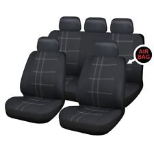 Black Full Set Front & Rear Car Seat Covers for Honda Civic Hatchback All Years