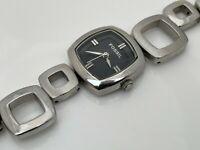 Fossil F2 Wristwatch ART DECO Style Women Watch Analog Silver Tone Band