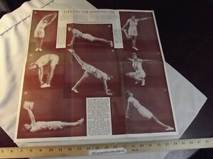Vintage 1930's Wall Chart Exercises for Everyday Use for Men and Woman 2 Sided