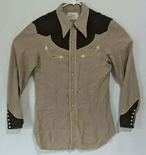 vintage 50s California Ranchwear Western Pearl Snap Cowboy Shirt Size 15