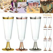 6PCS Disposable Plastic Wine Glass Champagne Flute Cocktail Party Drink Cup