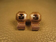 Vintage Faceted Fluted Border Glass Wrap Around Yellow Gold Plated Cuff Links