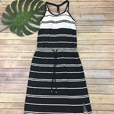 Athleta Midi Dress Size M Black White Stripes Built In Bra Stretch Sleeveless