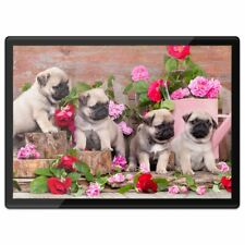 Quickmat Plastic Placemat A3 - Pug Dog Puppies with Flowers  #15947