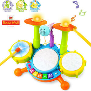 Kids Toddler Electric Drum Kit Set With Microphone Children Musical Toys