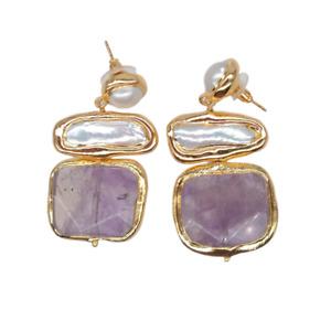 Freshwater White Biwa Pearl Amethyst Stud Earrings