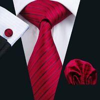 Herren Krawatte klassisch Modern mit Einstecktuch Manschettenknöpfe N-0357 NEU