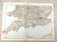 1895 Map of England Wales South Coast Britain UK Old Antique 19th Century Large