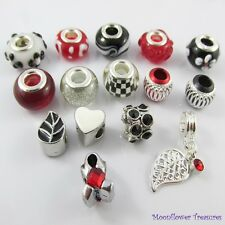 Bulk x15 European Beads and Charms Black Red White Theme Set fit Charm Bracelets