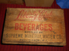 Liberty Club Beverages SUPREME MINERAL WATER Co. Providence RI WOOD WOODEN CRATE