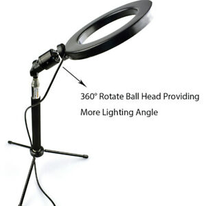 """6"""" Makeup Fill Light LED Ring w/Tripod Stand Phone Holder Remote Kit For Stream"""