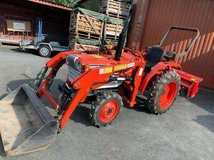 Traktor Kubota L2202DT / L2002DT, Allrad, Diesel mit Frontlader und Bodenfräse
