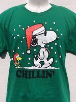 Peanuts Snoopy Christmas  CHILLIN' Woodstock Santa Holiday Green t shirt sz M