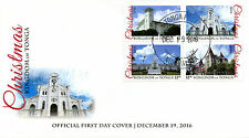 Tonga 2016 FDC Christmas Churches 4v Block Cover Buildings Architecture Stamps