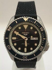 Seiko 5 Sports Automatic Blue Dial Black Silicone Strap Mens Watch