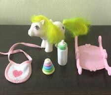 VTG My Little Pony G1 Baby Surprise MLP w/ Pink Rocker, Stacking Toy, Bib Bottle
