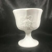 Vintage Milk Glass Embossed Grape Pedestal Planter