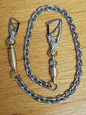 "Biker Wallet Chain 26-1/4"" Titanium Carabiners, Titanium Brass Bomb Bullet Beads"