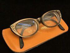 VINTAGE VICTORY 5 1/2 Cat Eye Bronze Brown Eyeglasses Frames Etched Scroll