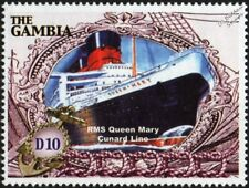 RMS QUEEN MARY Cunard Line Cruise / Ocean Liner Ship Stamp (2005 Gambia)
