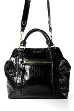 PRADA MIU MIU Patent Crocodile Embossed Leather Bag