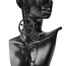 Funny Big Acrylic Pendant Jewelry Playful Steampunk Black Cat Earrings