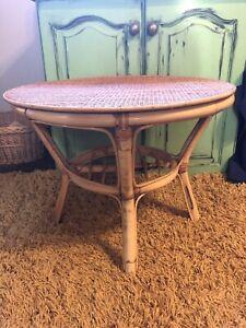 Vintage Retro Boho Rattan & Bamboo Round Coffee Table Magazine Shelf