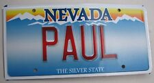 "NEVADA  VANITY LICENSE PLATE  "" PAUL "" PAULIE  PAULA  NV PAULEY"