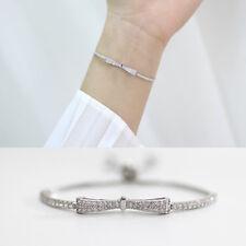 Damen Armband Schleife echt Sterling Silber 925 Zirkonia bis 21 cm verstellbar