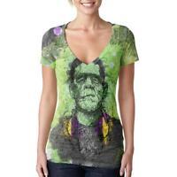 Halloween Frankenstein Raver Horror Movie Juniors Burnout V-Neck T-Shirt