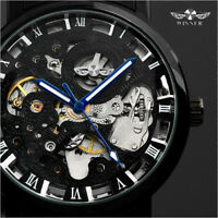 Skeleton Black Stainless Steel Automatic Mechanical Sport Wrist Watch for Men