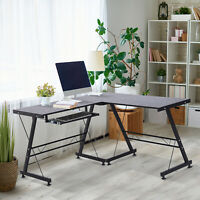 Modern L-Shaped  Computer Desk Corner Table Office Workstation Black