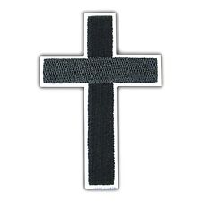 Cross Black Religious Patch logo Embroidered Applique Christian Biker Iron On