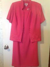 R&K Originals Size 10 Hot Pink Embellished Dress & Jacket 100% Polyester