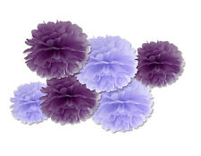 FLUFFY DECORAZIONI DA APPENDERE VIOLA E LILLA 6 PZ IN CARTA ASSORTITI ADDOBBI