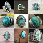 Antique 925 Silver Turquoise Bohemian Ring Men Women Engagement Bridal Jewelry