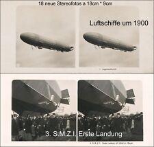 18 Stereofotos LZ 10, Schwaben S.M.Z.I. Zodiac Luftschiffe Zeppeline Airships
