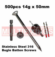 500pcs - 14g x 50mm Stainless Steel SS316 Bugle Head Batten Screws + SmartBit