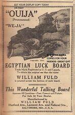 DEC 1919 ADVERTISEMENT COPY- OUIJA EGYPTIAN LUCK BOARD- WONDERFUL TALKING BOARD
