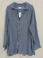J jill $89 Button up Blouse top Women's Size 4x New Geometric Print Black Gray