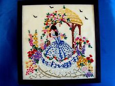 VINTAGE HAND EMBROIDERED PICTURE PANEL BEAUTIFUL CRINOLINE LADY COTTAGE GARDEN