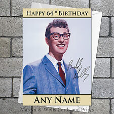 Buddy Holly birthday card: 5x7 inches, Personalised, plus envelope.