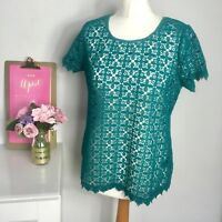 Next Size 12 Green Lace Top with Gold Zip detail occasion Smart party L4