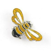Vintage Margot De Taxco Sterling Silver Yellow Enamel Bee Honeybee Brooch Pin