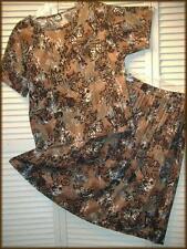 JUDY KNAPP 2 pc. Skirt & Top Set (M) Black & Brown 'Batik' 100% Rayon USA Made