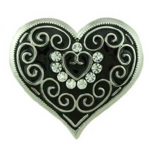 Black Enamel and Crystal Heart with Silver Curlicues Brooch Pin - PRH902