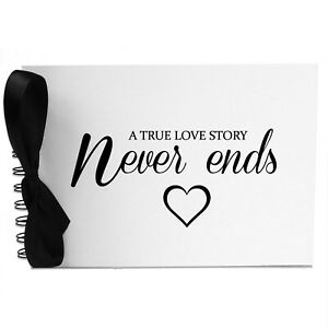 Ribbon, True Love Never Ends, Photo Album, Scrapbook, Blank White Pages, A5
