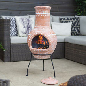 Tall La Hacienda Clay Chimenea BBQ Log Burner Fire Pit Garden Patio Heater Stove