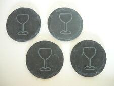4 hochwertige schiefer Glasuntersetzer - Durchmesser ca. 9,5 cm - Filzfüße