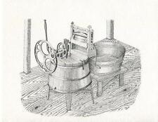 VINTAGE ANTIQUE WOOD WASHING LAUNDRY MACHINE BASIN TUB CLOTHES WRINGER ART CARD